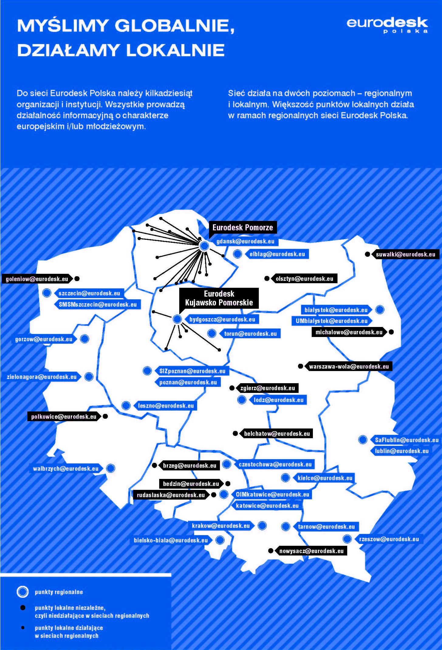 Mapa Polski z zaznaczonymi punktami Eurodesk