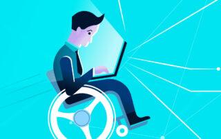 Ilustracja wektorowa - mężczyzna na wózku pracuje na laptopie