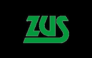 Zielony napis ZUS (skrót od Zakladu Ubezpieczeń Społecznych)