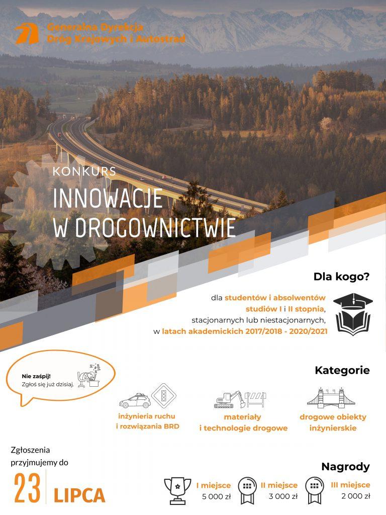Plakat dotyczący innowacji w drogownictwie. W gornej części zdjęcie drogi po której jadą samochodu, poniżej dane o konkursie. Termin przymowania zgłoszeń do 23 lipca.