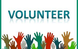 16 kolorowych rąk uniesionych ku górze i napis volunteer